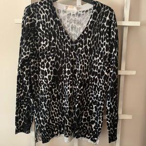 Michael Kors cheetah v-neck sweater size small